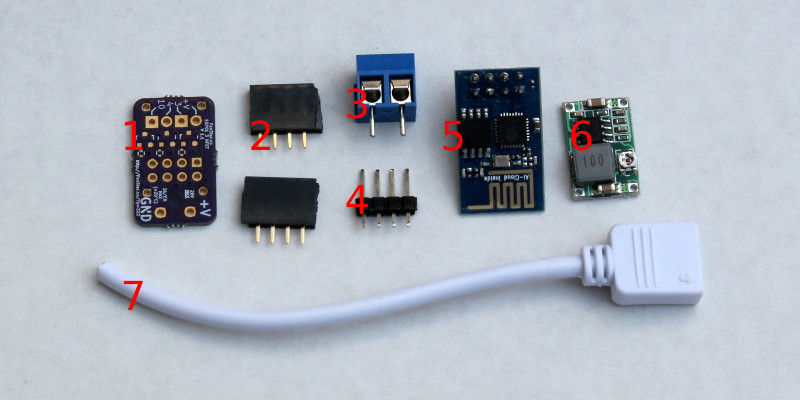 Items in the kit, sans SMD components.
