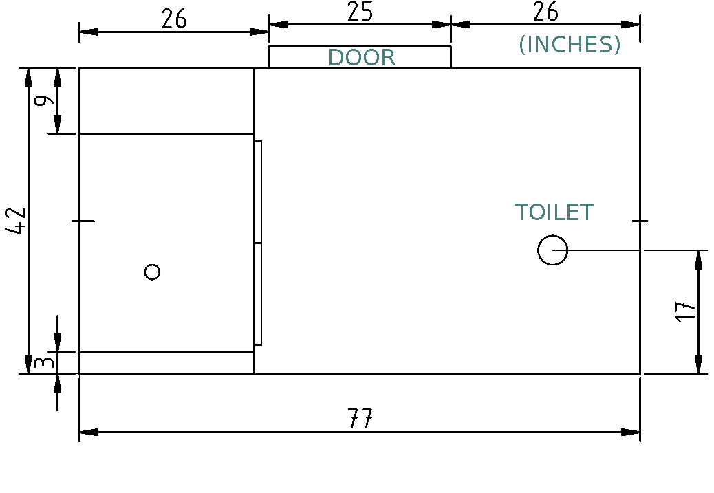 The toilet is not centered on the wall.