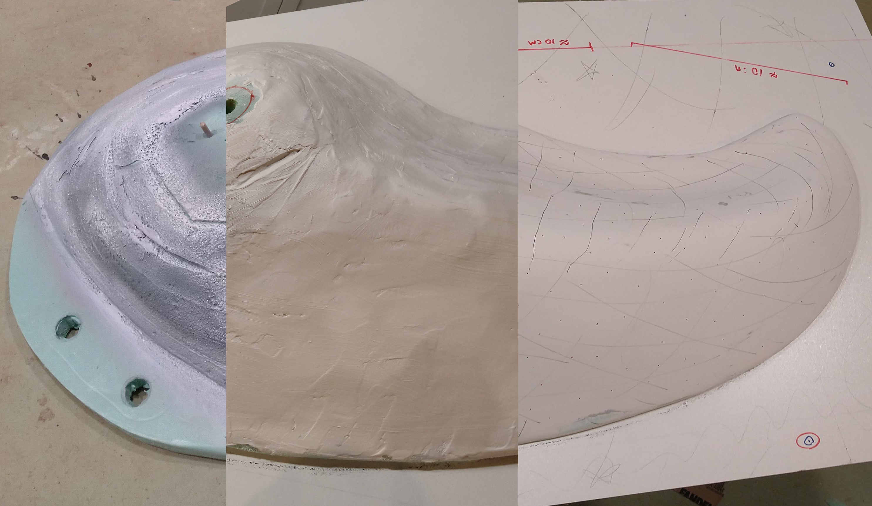 Three different stages of smoothing.